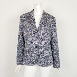 NWT Talbots Navy Blue Floral Career Blazer Jacket